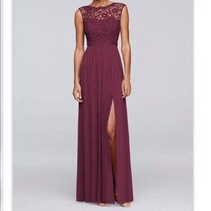 David's Bridal Lace Bodice Bridesmaid Dress
